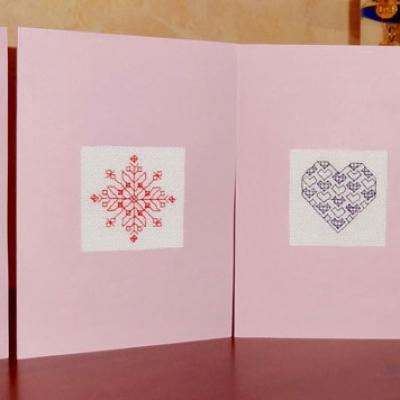 Cartes brodées Blackwork par Claudine